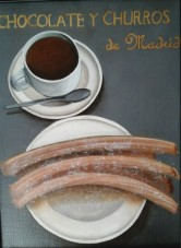 Chocolate y churros (lin, acrylique et feuille d'or, 30/40 )