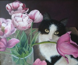 L'amateur de tulipes (acrylique, coton, 40/60)