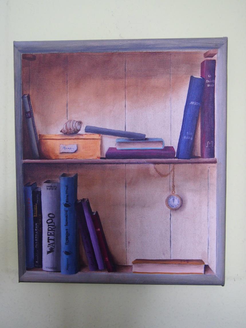Amélie Haut (Ma bibliothèque, coton, acrylique, 30/35, 2011)