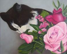 L'amateur de roses (50/60, coton, acrylique et alkyd)